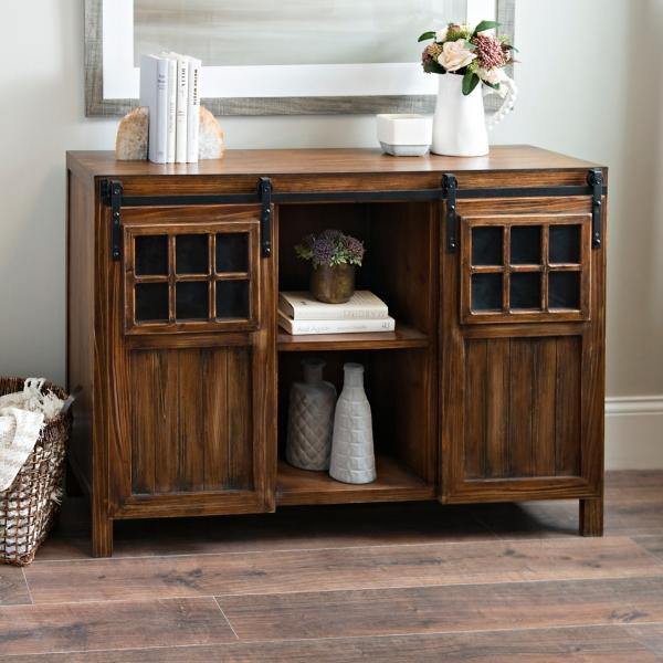 Distressed Black Windowpane Console Table · Dark Wood Sliding Door  Windowpane Cabinet