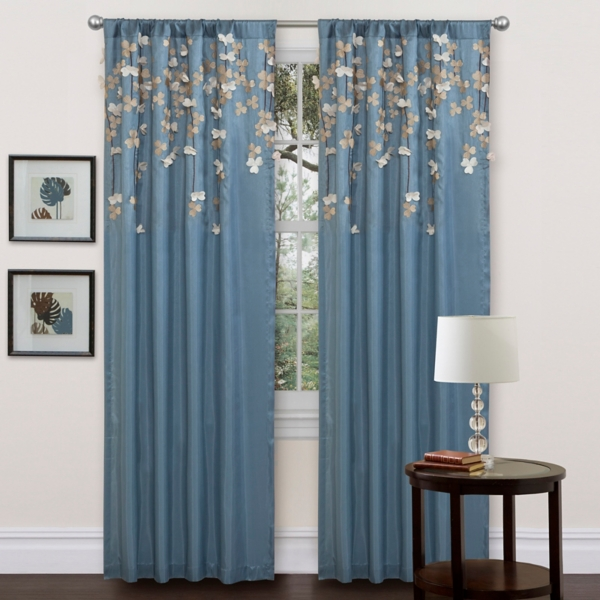Blue Flower Drops Curtain Panel, 84 In.