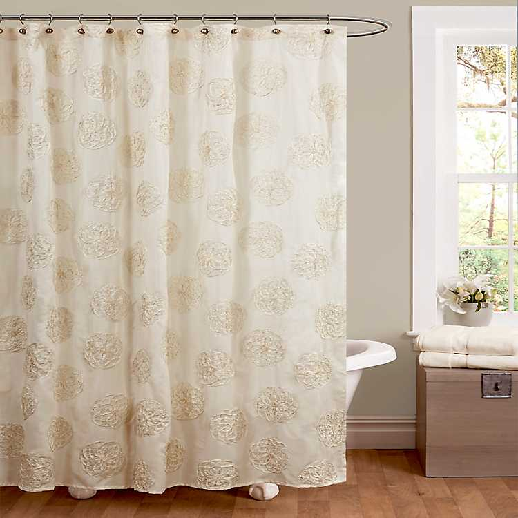 Product Details Ivory Samantha Embroidered Shower Curtain