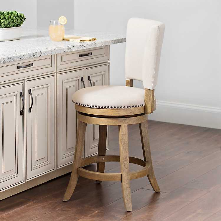 Outstanding Natural Wood And Linen Swivel Counter Stool Uwap Interior Chair Design Uwaporg