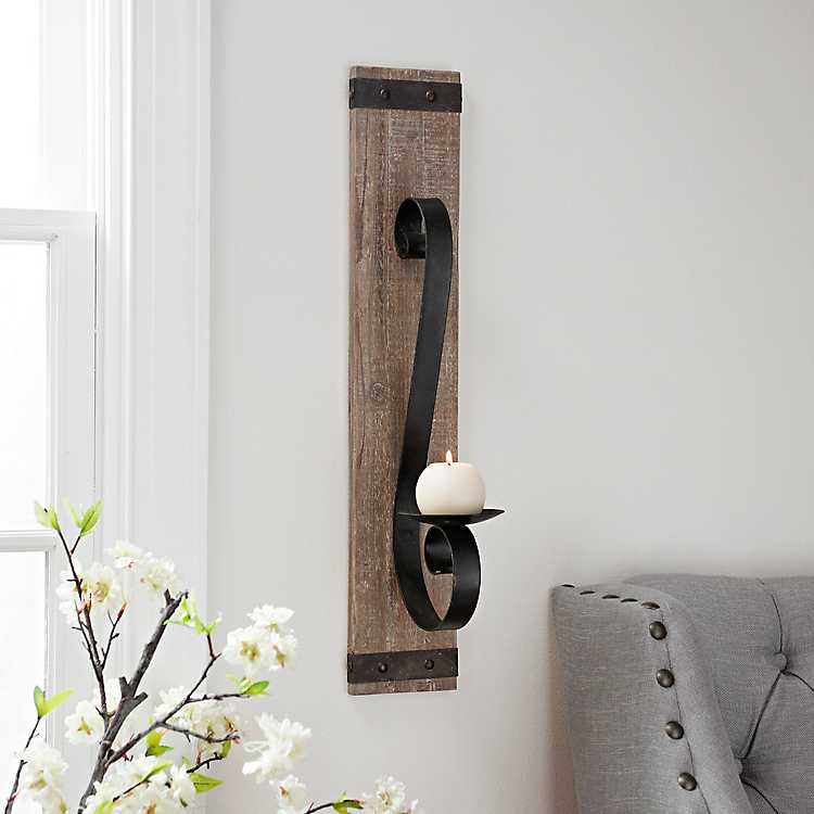 Wood Plank With Metal Accent Wall Sconce Kirklands