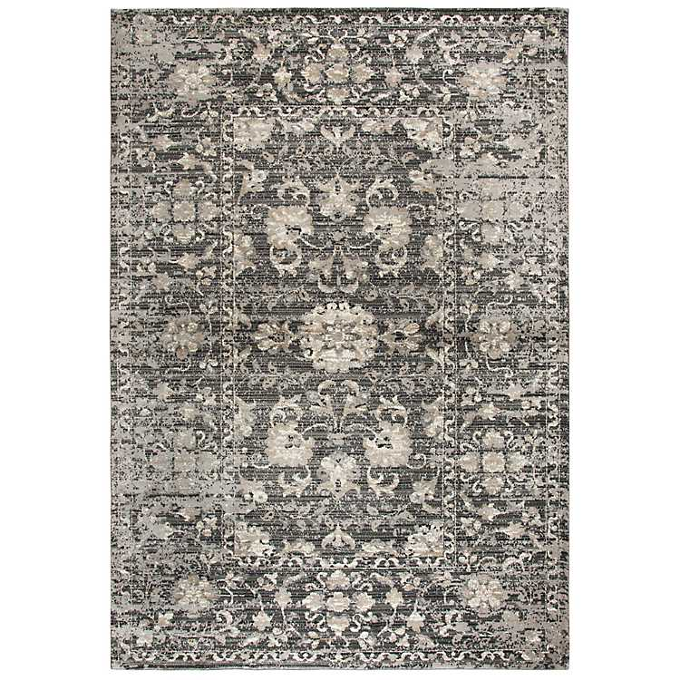 Gray And Tan Distressed Fl Area Rug