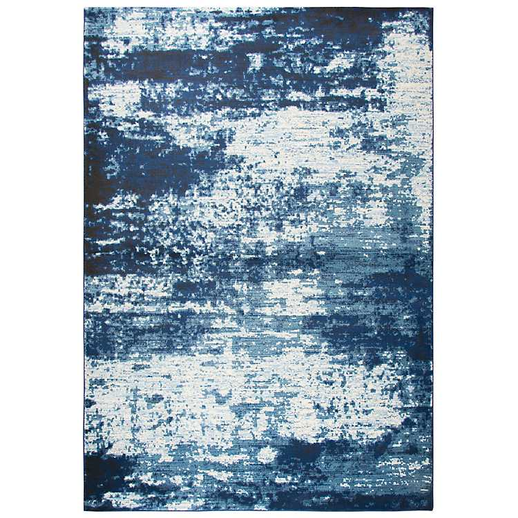 Ivory And Blue Abstract Area Rug 5x8