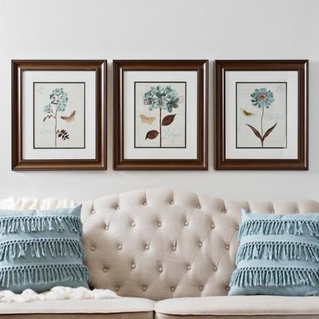 touch of blue framed art prints set of 3 kirklands
