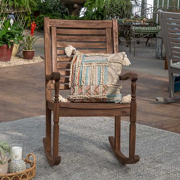 Dark Brown Acacia Wood Rocking Chair ...