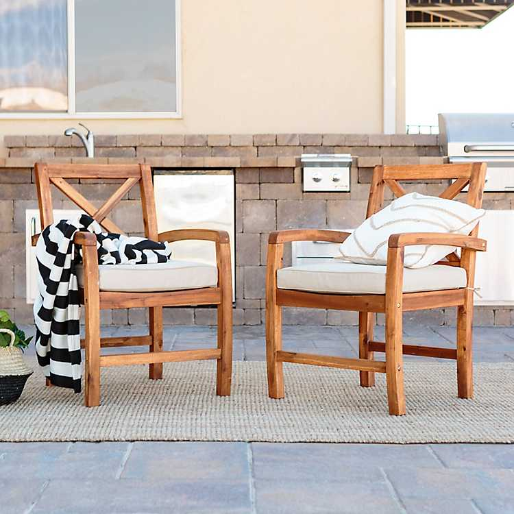 X Back Acacia Wood Patio Chairs, ...