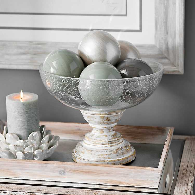 decorative bowls home decor.htm seeded glass bowl on whitewashed pedestal kirklands  seeded glass bowl on whitewashed