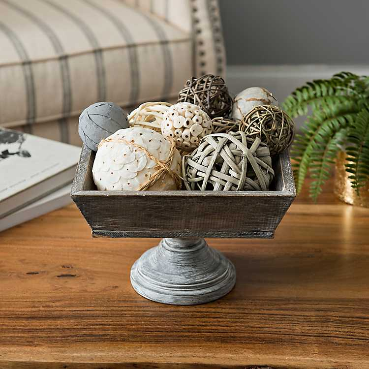 decorative bowls home decor.htm square wooden bowl on pedestal kirklands  square wooden bowl on pedestal kirklands