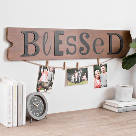 Ruler Board Blessed Collage Frame with Clothespins | Kirklands