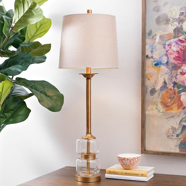Deep Gold Glass Orb Buffet Lamp