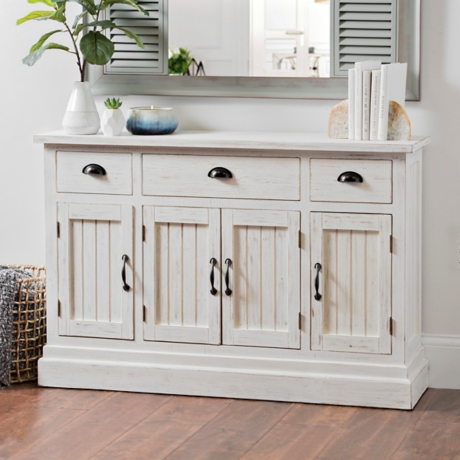 Distressed White Shiplap Chest
