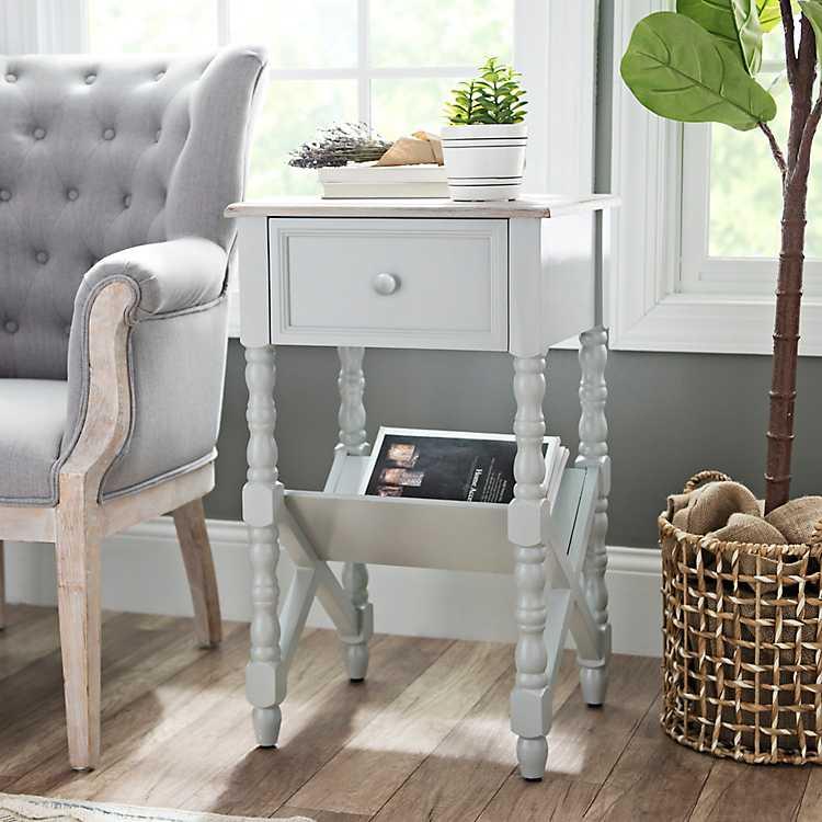 Sydney Gray Spool Leg Accent Table | Kirklands