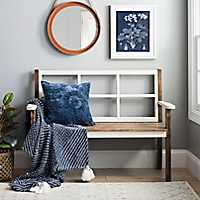 Distressed Wooden Windowpane Bench