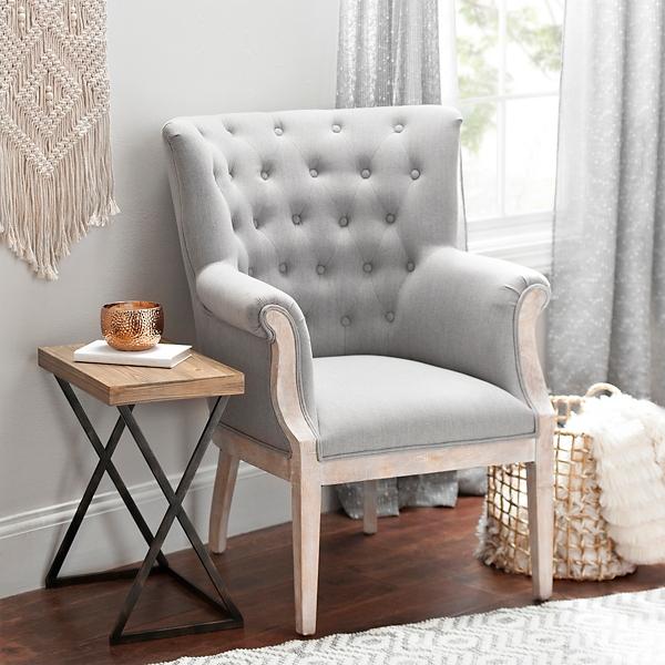 Rachel Linen Slate Accent Chair