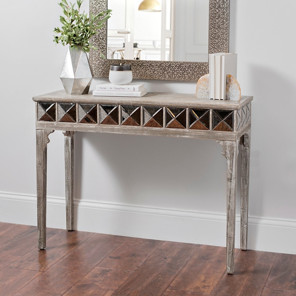 Kerri Rustic Mirrored Console Table