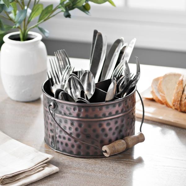 bronze bucket flatware caddy kitchen accessories   kirklands  rh   kirklands com