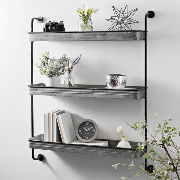 galvanized metal 3-tier wall shelf | kirklands 3 Wall Shelves