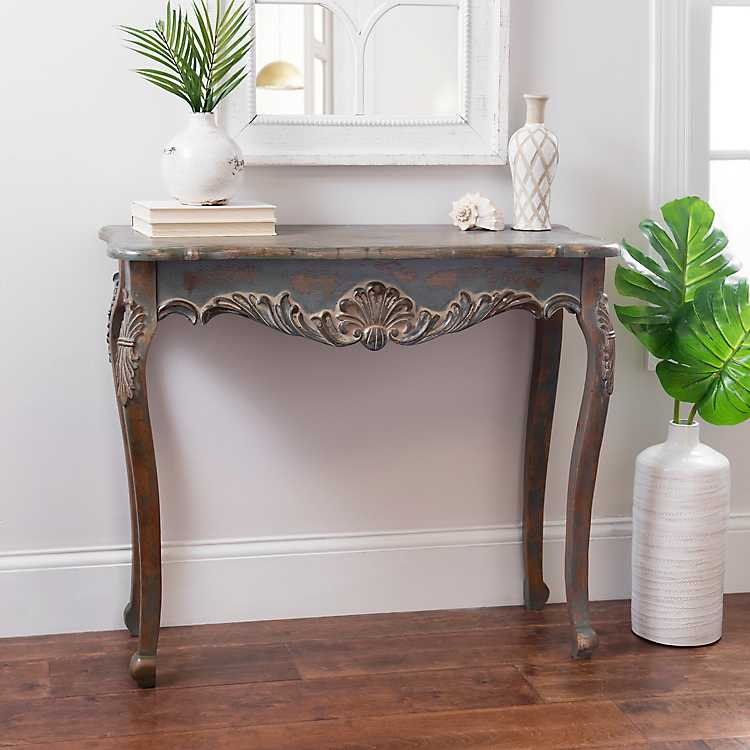 Victorian Distressed Turquoise Console Table ...