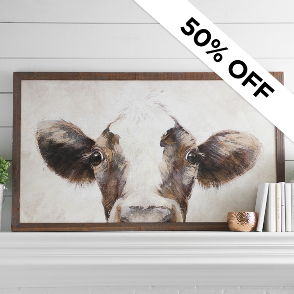 50% Off - Cow Framed Art Was $129.99 - Now $64.99
