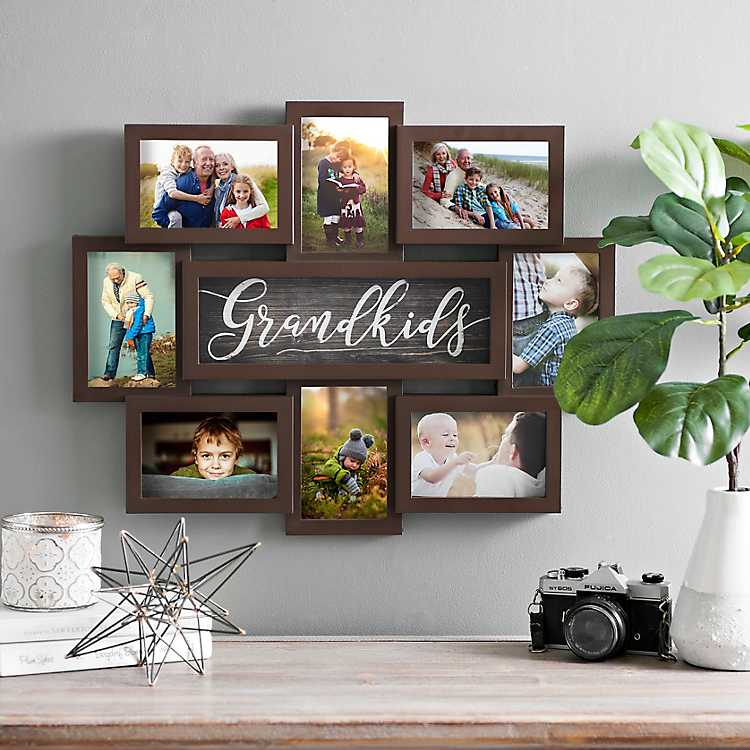 Wood Picture Collage Wall Decor 8 Opening Love Photo Frame Gallery Set Black