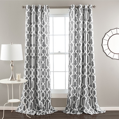 Edward Gray Curtain Panel Set 96 In