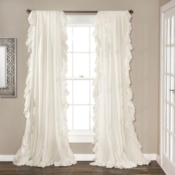 Reyna White Ruffle Curtain Panel Set