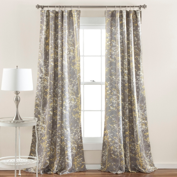 Yellow And Gray Forest Curtain Panel