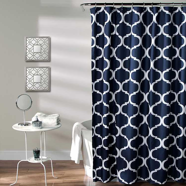 Navy Geometric Shower Curtain