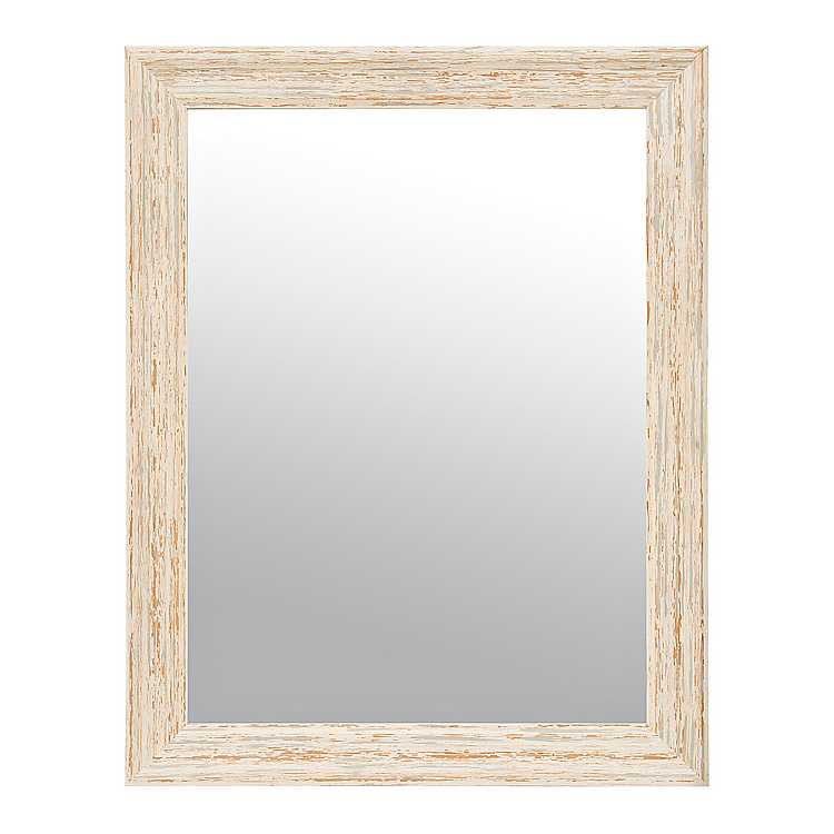 Distressed Off White Framed Mirror