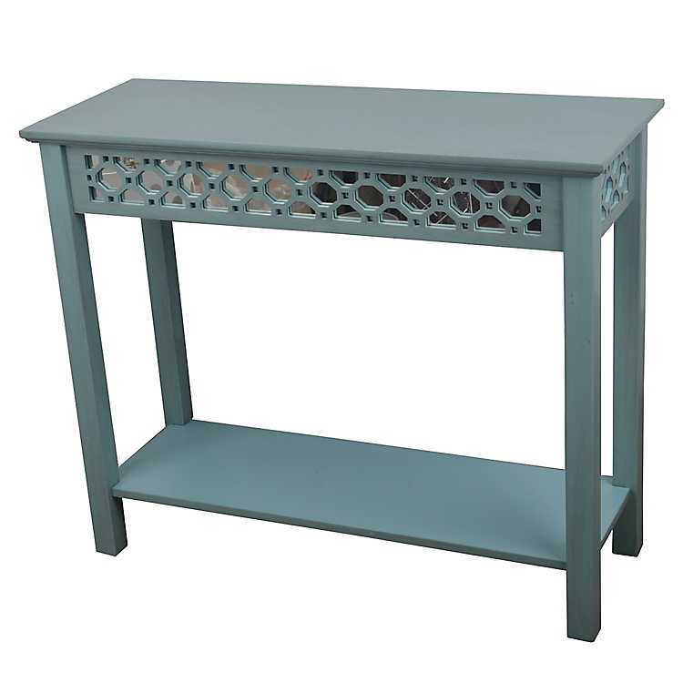 Iced Blue Antique Mirrored Console