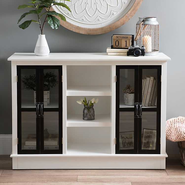 Merveilleux Distressed Black And White Emma Wood Cabinet ...
