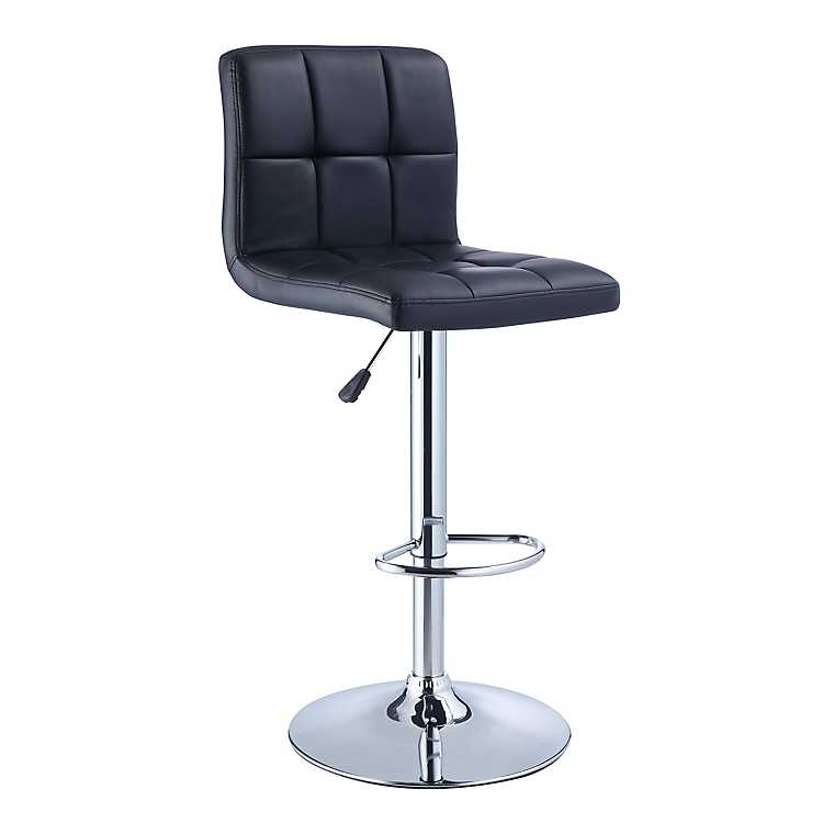 Black Faux Leather Adjustable Bar Stool ...