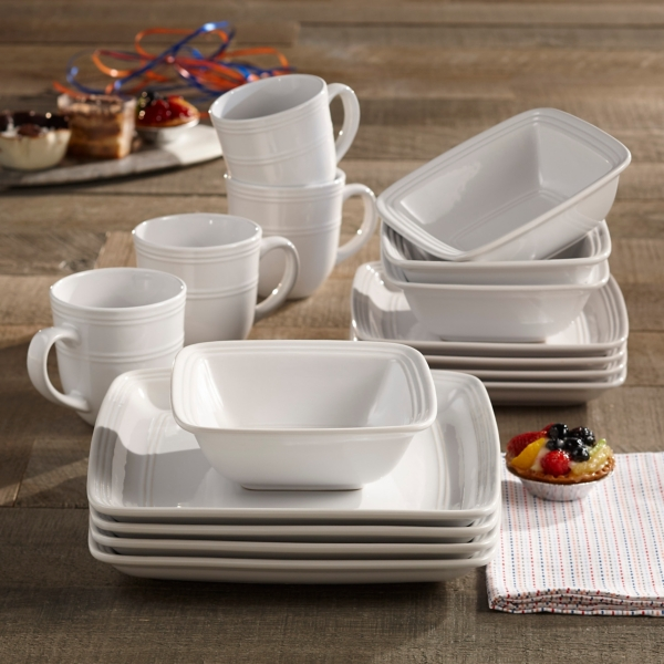 Square White Madelyn 16-piece Dinnerware Set