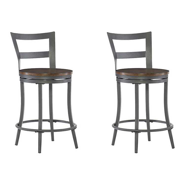 Astounding Cherry And Gunmetal Swivel Counter Stool Set Of 2 Forskolin Free Trial Chair Design Images Forskolin Free Trialorg