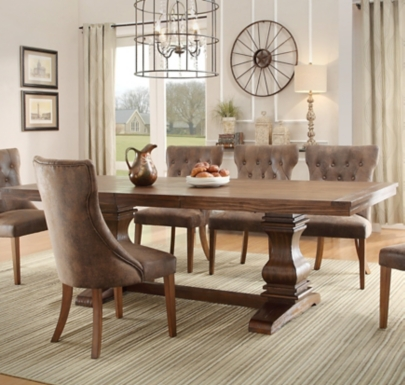 Rustic Oak Double Pedestal Trestle Dining Table