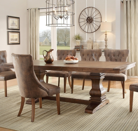 Rustic Oak Double Pedestal Trestle Dining Table Kirklands - Double trestle dining table