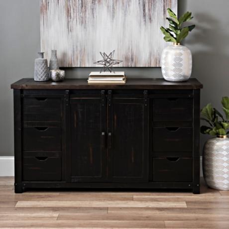 - Antique Black Sliding Door Cabinet Kirklands
