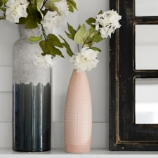 Pink Ribbed Ceramic Vase
