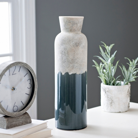 Slate Blue Two Tone Ceramic Vase 17 In Kirklands