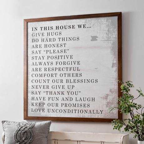 House Rules White Washed Framed Art Print | Kirklands