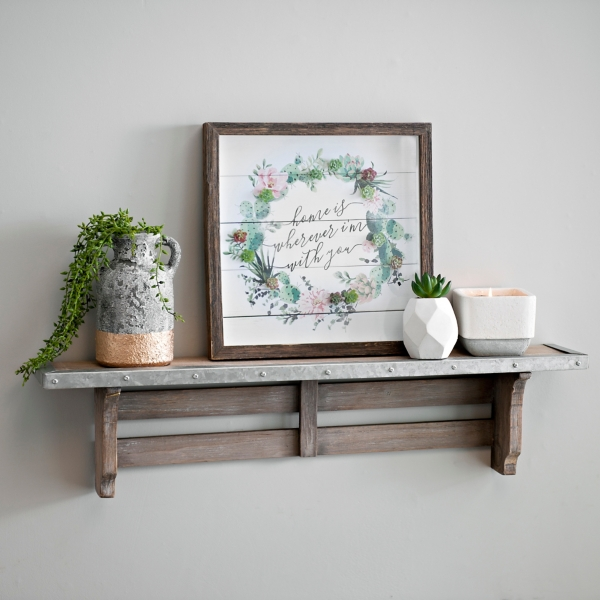 Wood With Galvanized Metal Accents Wall Shelf
