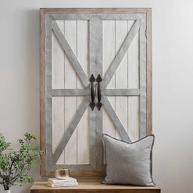 Whitewash Galvanized Barn Door Wall