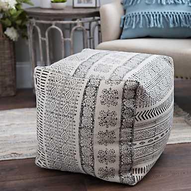 Charcoal Dhurrie Cotton Pouf