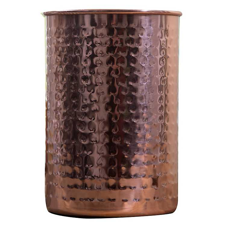Hammered Antique Copper Utensil Holder