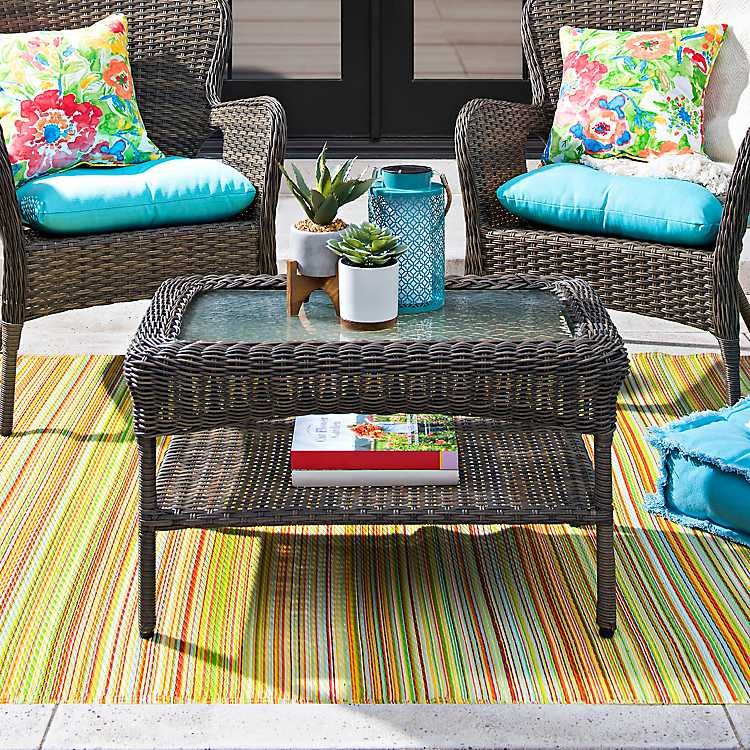 Hatteras Peppercorn Wicker Coffee Table