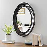 Ribbed Bronze Oval Wall Mirror
