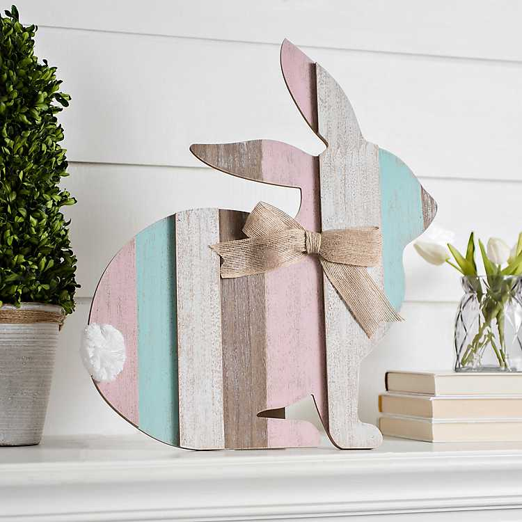 decortive ester ccents easter rabbit decor bunny.htm multicolor wood plank easter bunny with easel kirklands  multicolor wood plank easter bunny with