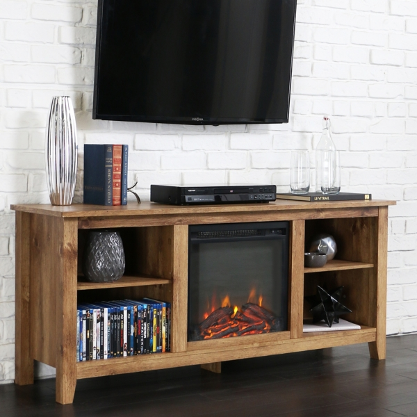 Barnwood Fireplace Media Cabinet