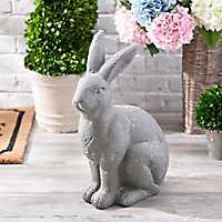Gray Resin Outdoor Rabbit Statue