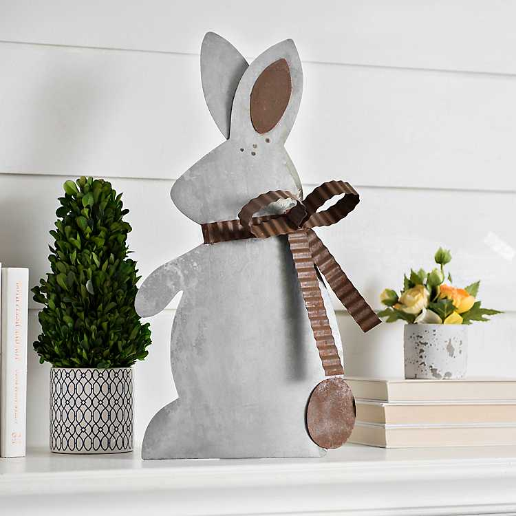 decortive ester ccents easter rabbit decor bunny.htm galvanized and rusted bunny figurine kirklands  galvanized and rusted bunny figurine